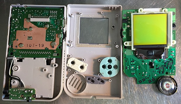 The inside of a Game boy