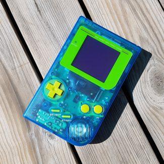 Game Boy modded Blue aftermarket shell