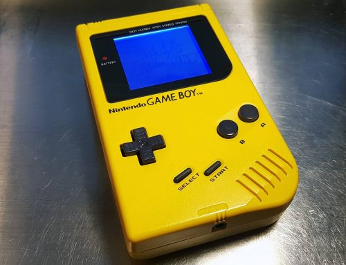 Yellow Game Boy Play It Loud with 7 mods, box, manual and flyer