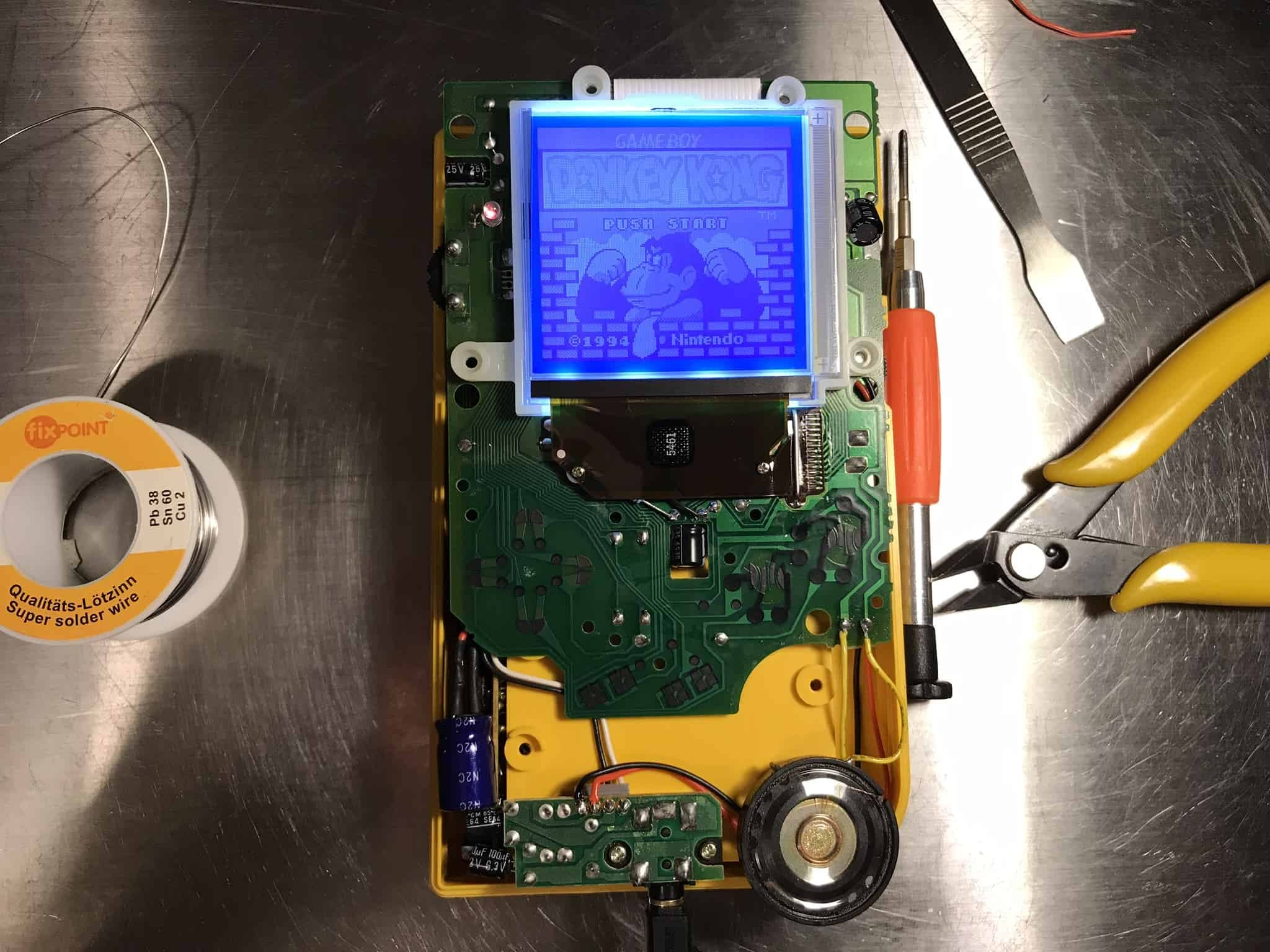 Game Boy modded open